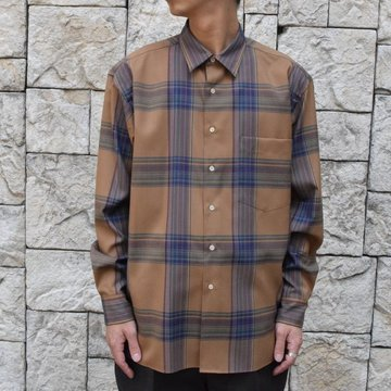 【2019 AERA】AURALEE(オーラリー)/ SUPER LIGHT WOOL CHECK SHIRTS -LIGHT BROWN CHECK-#A9AS01LC