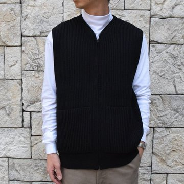 【30% OFF SALE】【19 AW】 AURALEE(オーラリー)/SUPER FINE WOOL RIB KNIT ZIP VEST #A9AV03RK-BK