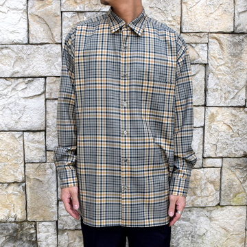 【30% off sale】【2019 AW 】 MARKAWARE(マーカウェア)/Organic Wool Check Serge Comfort Fit Shirts -BEIGE-