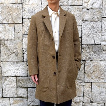 【30% off sale】FRANK LEDER(フランクリーダー) /DOG WOOL SINGLE BREASTED COAT -KHAKI- #0721014