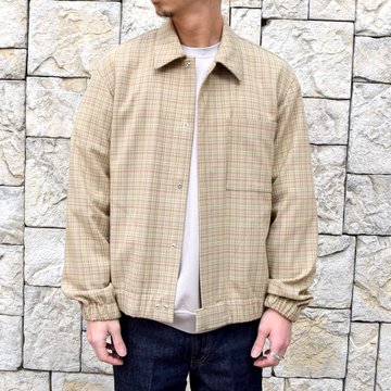 【30% off sale】【2020】 AURALEE(オーラリー)/ HARD TWIST WOOL DOUBLE FACE CHECK BLOUZON -BEIGE CHECK- #A20SB01WC