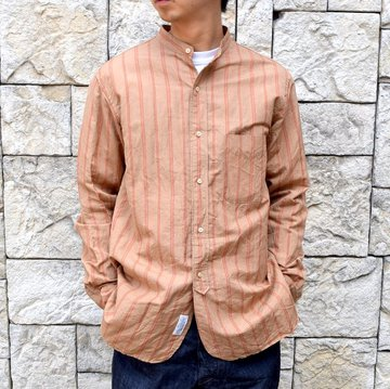【2020】 A VONTADE(ア ボンタージ)/ BANDED COLLAR SHIRTS -BROWN STRIPE- #VTD-0312-SH