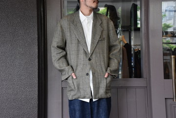 【2020 SS】 Cristaseya(クリスタセヤ)/ CHECKED LINEN SUMMER JACKET -Grey/Blue check- #02EE-L-GB