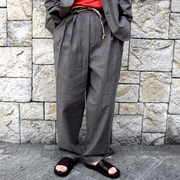 【30% off sale】【2020】FRANK LEDER(フランクリーダー)/ LIGHT GREY COTTON DRAWSTRING TROUSERS -GREY- #0913050-95
