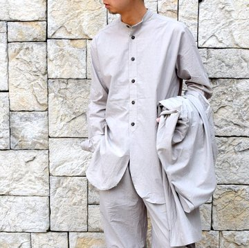【2020 SS】FRANK LEDER(フランクリーダー)/ TRIPLE WASHED THIN COTTON STAND COLLAR SH -GREY- #0916086-95