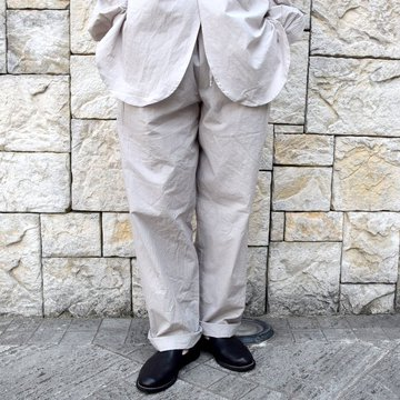 【2020 SS】FRANK LEDER(フランクリーダー)/ TRIPLE WASHED THIN COTTON DRAWSTRING TROUSERS -GREY- #0913090-95