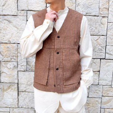 【2020 SS】FRANK LEDER(フランクリーダー)/ ROOT DYED STRIPED LINEN VEST -BROWN- #0917073-89