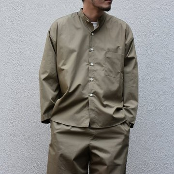 【30% off sale】【2020】 Cristaseya(クリスタセヤ)/LIGHT COTTON PAJAMA SHIRT-Light khaki- #02DA-C