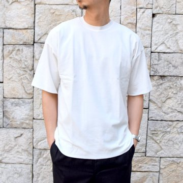 【2020】AURALEE(オーラリー)/ HARD TWIST AMUNZEN DOUBLE CLOTH TEE -WHITE- #A20ST01KN
