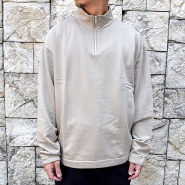 【2020】 AURALEE(オーラリー)/ ELASTIC HIGH GAUGE SWEAT HALF ZIP P/O -KHAKI GRAY- #A20AP01NU
