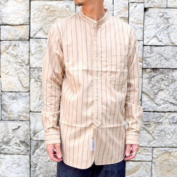 A VONTADE(ア ボンタージ)/ BANDED COLLAR SHIRTS -BEIGE STRIPE- #VTD-0312-SH