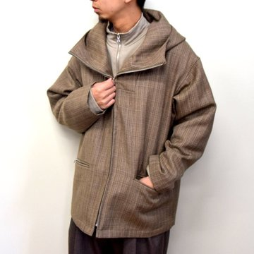 【2020】 AURALEE(オーラリー)/ BLUEFACED WOOL DOUBLE CLOTH ZIP HOODIE -MIX BEIGE- #A20AB02BN