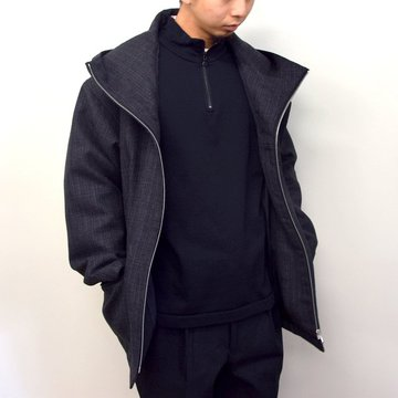 【2020】 AURALEE(オーラリー)/ BLUEFACED WOOL DOUBLE CLOTH ZIP HOODIE -MIX CHARCOAL- #A20AB02BN