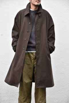 Cristaseya(クリスタセヤ)/ COTTON OVERSIZED TRENCH WITH LEATHER PATCH -BROWN- #01KA-CO-BR