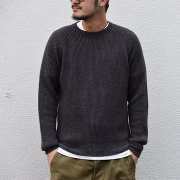 【2020】 Cristaseya(クリスタセヤ)/ YAK&WOOL RIBBED RAGLAN SWEATER -BROWN BLUE- #17KA-BB