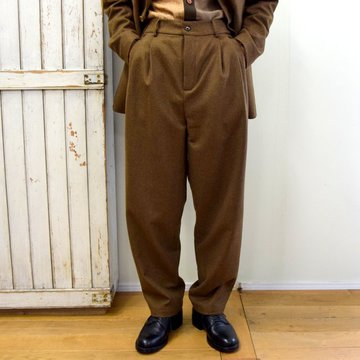 【2020】FRANK LEDER(フランクリーダー)/ LIGHT WEIGHT LODEN WOOL 2TUCK TROUSERS -BROWN- #0723028
