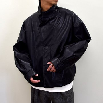 stein(シュタイン)/ OVER SLEEVE FAKE LEATHER JACKET -BLACK- #ST-180-3