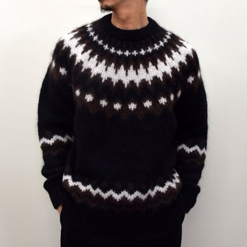 BATONER(バトナ—)/ MOHAIR NORDIC CREW NECK Brown BN-20FM-052