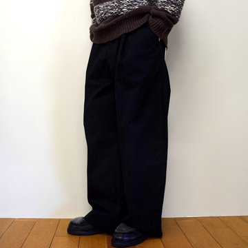 STUDIO NICHOLSON(スタジオニコルソン)/ PEACHED COTTON TWILL-BLACK- #SNM-351
