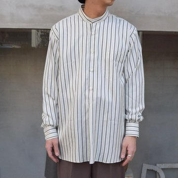 MAATEE&SONS(マーティーアンドサンズ)/ SILK PULLOVER SHIRTS -OLIVE STRIPE- #MT1103-0605
