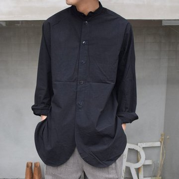FRANK LEDER(フランクリーダー)/TRIPLE WASHED THIN COTTON OLD STYLE STAND COLLAR SHIRT ‐BLACK- 0916086-99