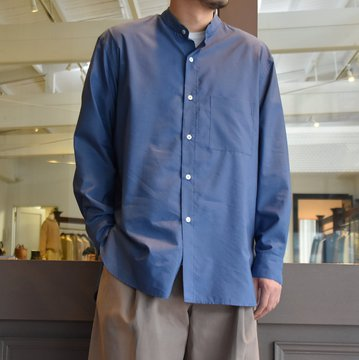 [2021]Cristaseya(クリスタセヤ)/SILK AND COTTON MAO SHIRT -BLUE- #08DA-SC-BL