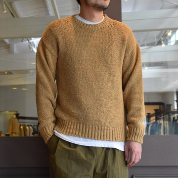 [2021]Cristaseya(クリスタセヤ)/OVERSIZED 2YARNS FETTUCCIA SWEATER -LIGHT KHAKI- #11SA-FE-LKH