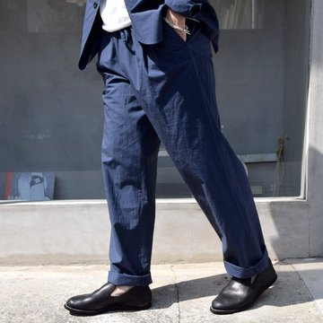 FRANK LEDER(フランクリーダー)/ TRIPLE WASHED THIN COTTON DRAWSTRING TROUSERS -NAVY- #0913090