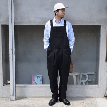 NEAT(ニート)/ COTTON LINEN OXFORD OVERALL -BLACK- #21-01LOO
