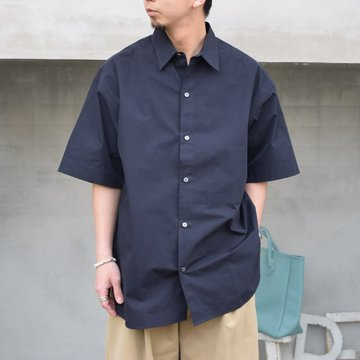 STUDIO NICHOLSON(スタジオニコルソン)/ SORONO POWDER COTTON OVERSIZED S/S SHIRTS -DARK NAVY- #SNM-567