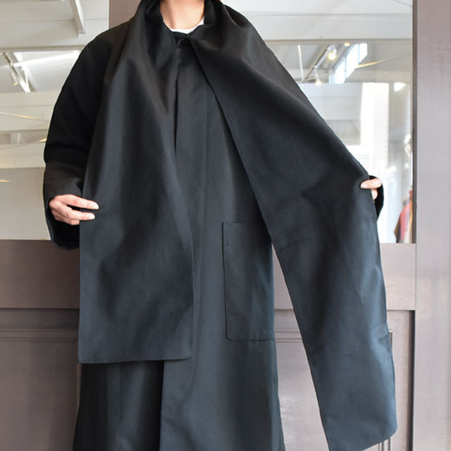【40% off sale】CristaSeya(クリスタセヤ)  Maxi over coat with scarf (Black)(10)