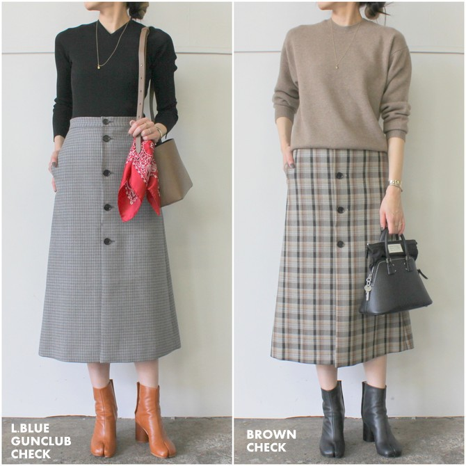 AURALEE(オーラリー) DOUBLE FACE CHECK SKIRT(2色展開)_A9AS04BN【K】(13)