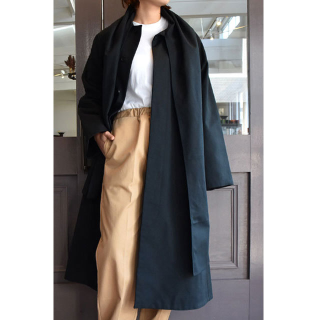 【40% off sale】CristaSeya(クリスタセヤ)  Maxi over coat with scarf (Black)(1)