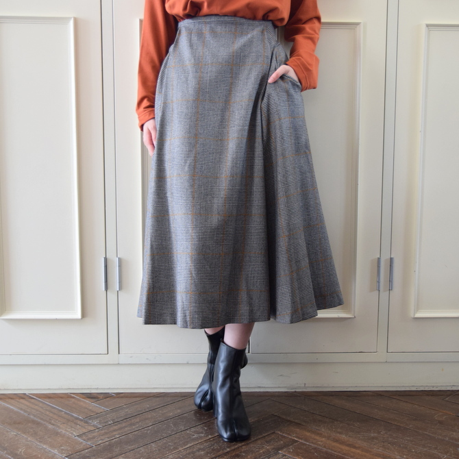 【40%OFF SALE】Graphpaper(グラフペーパー)GLENCHECK FLARE SKIRT【K】(1)