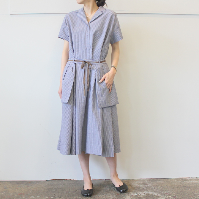 【40%OFF SALE】ÉCOLE DE CURIOSITÉS(エコールドキュリオジテ)COTTON SEERSUCKER DRESS_DAISY【K】(1)