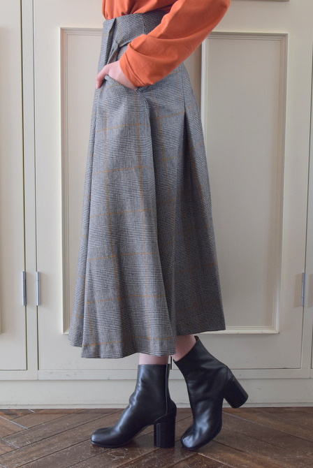 【40%OFF SALE】Graphpaper(グラフペーパー)GLENCHECK FLARE SKIRT【K】(2)
