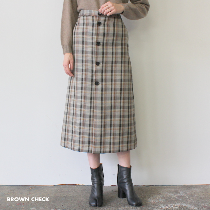 AURALEE(オーラリー) DOUBLE FACE CHECK SKIRT(2色展開)_A9AS04BN【K】(2)