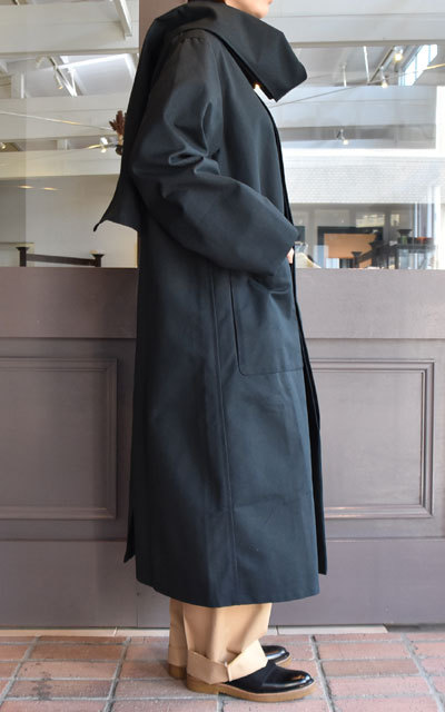 【40% off sale】CristaSeya(クリスタセヤ)  Maxi over coat with scarf (Black)(3)