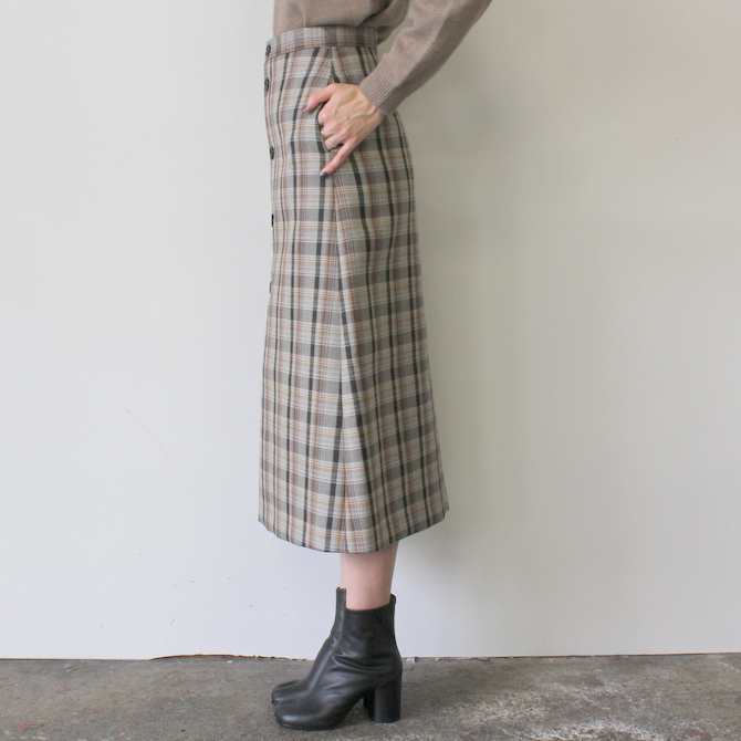 AURALEE(オーラリー) DOUBLE FACE CHECK SKIRT(2色展開)_A9AS04BN【K】(3)