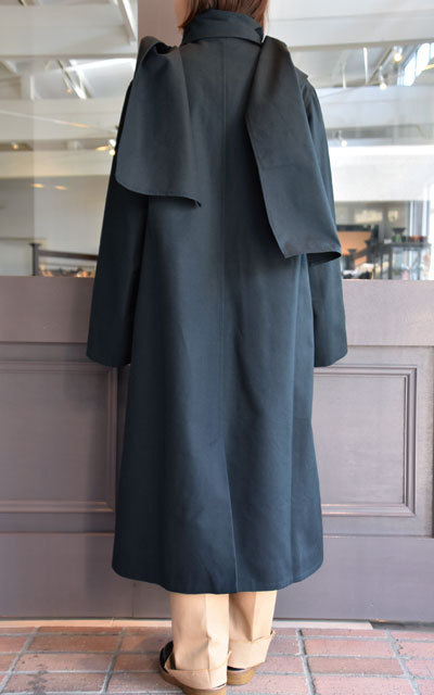 【40% off sale】CristaSeya(クリスタセヤ)  Maxi over coat with scarf (Black)(4)
