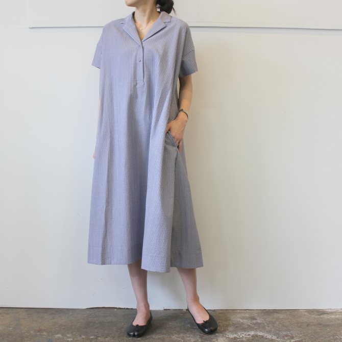 【40%OFF SALE】ÉCOLE DE CURIOSITÉS(エコールドキュリオジテ)COTTON SEERSUCKER DRESS_DAISY【K】(4)