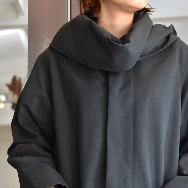 【40% off sale】CristaSeya(クリスタセヤ)  Maxi over coat with scarf (Black)(5)