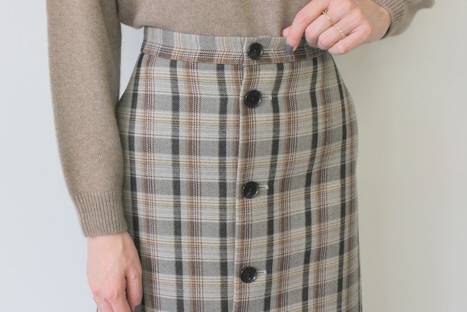 AURALEE(オーラリー) DOUBLE FACE CHECK SKIRT(2色展開)_A9AS04BN【K】(5)