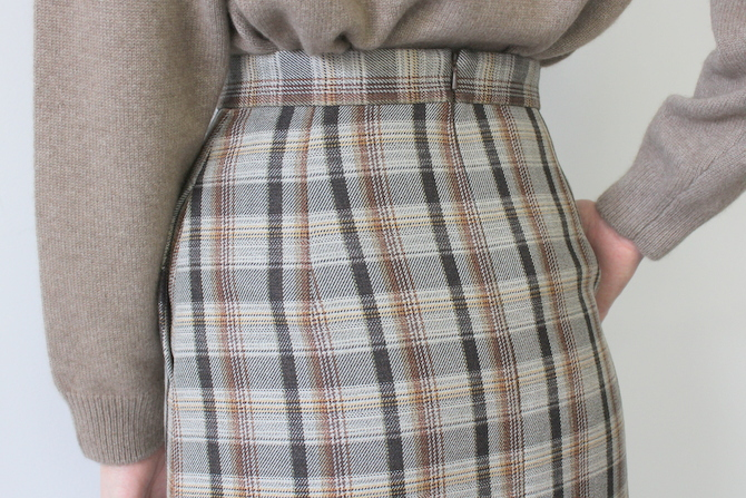 AURALEE(オーラリー) DOUBLE FACE CHECK SKIRT(2色展開)_A9AS04BN【K】(6)