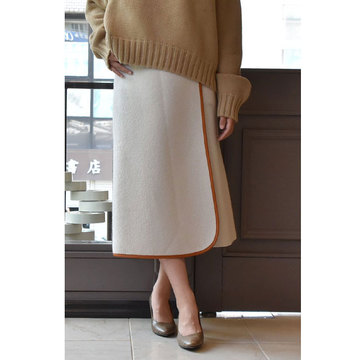 【40% off sale】CristaSeya(クリスタセヤ)  Felted wool skirt with leather piping(フェルトスカート)