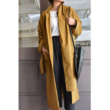 【40% off sale】CristaSeya(クリスタセヤ)  Maxi over coat with scarf (Caramel)