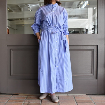 CristaSeya(クリスタセヤ)/ HANDMADE PATCH MAXI MAO SHIRT WITH FRINGED COLLAR (patched two toned blue stripes)