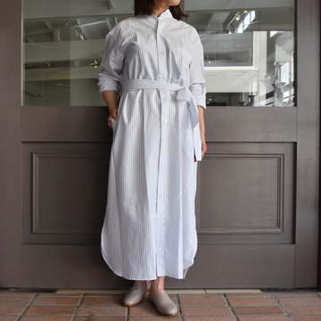 【30%off sale】 CristaSeya(クリスタセヤ)/ HANDMADE PATCH MAXI MAO SHIRT WITH FRINGED COLLAR(patched smoky blue stripes)