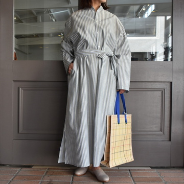 【30%off sale】 CristaSeya(クリスタセヤ)/ STRIPED MAXI SHIRT DRESS