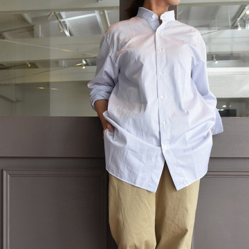 CristaSeya(クリスタセヤ)/ HANDMADE MAO SHIRT WITH FRINGED COLLAR(white)